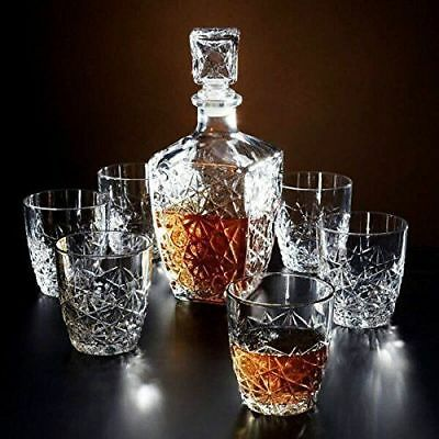Set of 6X Italian Crystal Whiskey Glass with Decanter Gift/Presentation Box Xmas