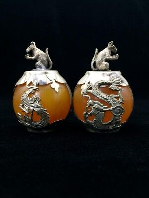 A pair of jade collection, Tibet silver hand carved statues of rat