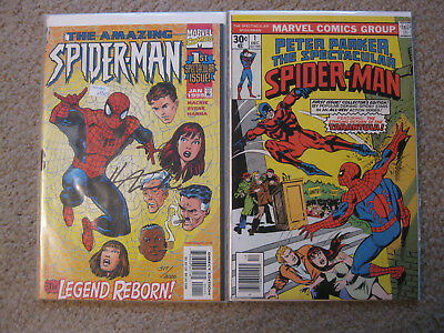 The Amazing Spider-Man #1, Vol. 2, and the Spectacular Spider-Man #1, both VF+