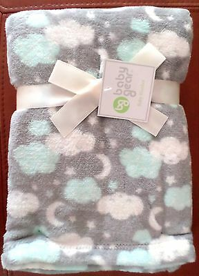 Baby Gear Boys Moon-Stars-Cloud Plush Blanket Gray/Lt Blue/White Poly 30x40