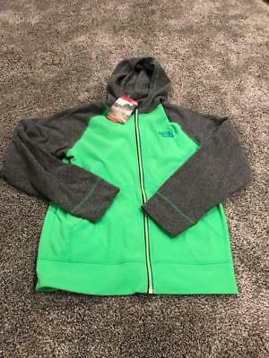 Boys North Face Green Gray Glacier Full Zip Fleece Jacket Hoodie Large 14 16 NWT