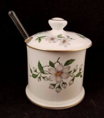 Crown Staffordshire Pear Blossom Jam Jelly Covered Condiment Jar Fine Bone China
