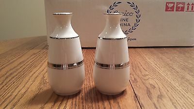 Carico Fine China Reflection Pattern 7956 NIB Salt and Pepper Shakers
