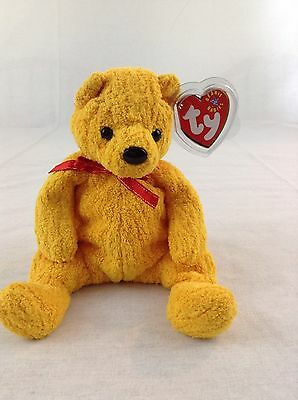 2001 Ty Beanie Baby Teddy Bear Poopsie Yellow Mustard With Tag Plush Animal