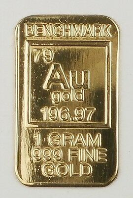 Gold 1Gram 24K Pure Gold Bullion Benchmark Elemental Bar 999 Fine Gold B22