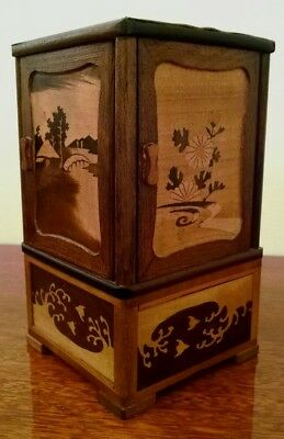 Rare OCCUPIED JAPAN Vintage Wood Box Inlay Japanese Woodworking Cigar Cabinet