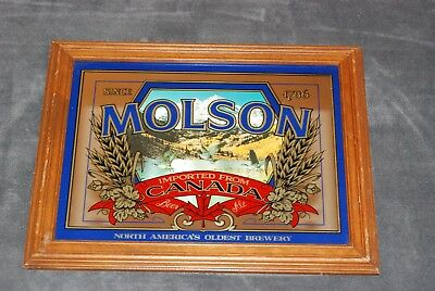 """Classic Molson Brewery Mirror  1960's """"Imported From Canada"""""""