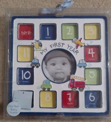 2012 Baby Essentials Blue My First Year Frame-Holds 13 Pictures-Hang,Stand, NEW