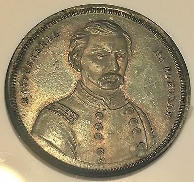 Political GMcC 1864-8 Silvered WM NGC MS-63 ONE FLAG AND ONE UNION NOW & FOREVER