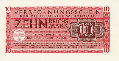 Currency Germany 1944 WW2 Wehrmacht Fascism War 10 Reichmark Uncirculated