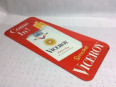 Vintage Tobacco Advertising Metal Sign Viceroy Cigarettes store display ad