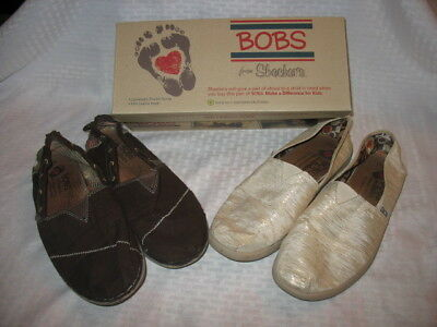 Lot of 2 pairs of Womens Skechers Bobs flats shoes size 10 M!