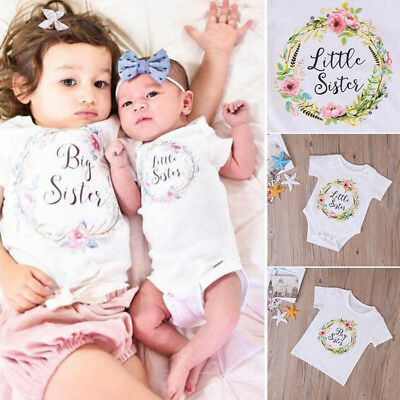 Newborn Girl Baby Kids Little Sister Romper Bodysuit Big Sister T-Shirt Ornate