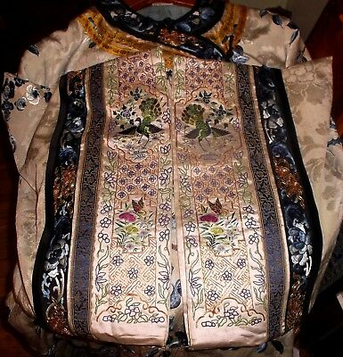 Antique Chinese ladies robe Manchu Qing period late 1800's Embroidered robe slit