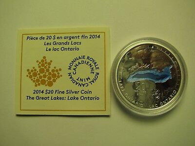 2014 Proof $20 The Great Lakes #2-Lake Ontario COIN&COA ONLY .9999 silver twenty
