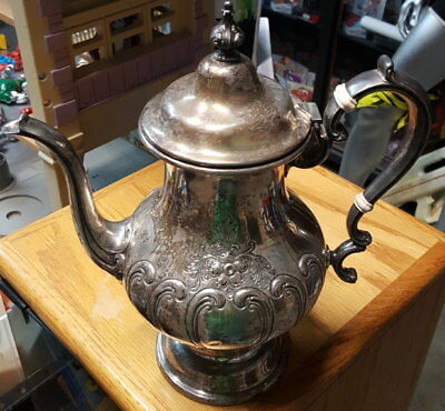 """Groham Sterling Silver Chantilly Pot 11"""" 3 pint Hand Chased"""