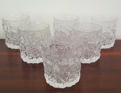 Set of Six Whitefriars Clear Glass Whisky Tumblers - Geoffrey Baxter