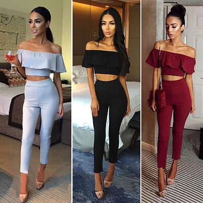 UK Womens Off Shoulder Ruffle Jumpsuit Ladies Party Clubwear Casual Playsuit New