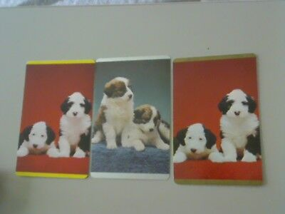 3 Single Swap/Playing Cards - Set Puppies (Old English Sheepdogs)