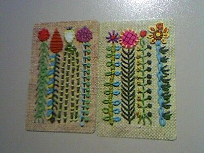2 Single Swap/Playing Cards - Pair Embroidered  Flowers#