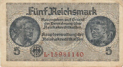 Currency Germany 1944 WW2 Fascism War Era 5 Reichsmark Fine Circulated