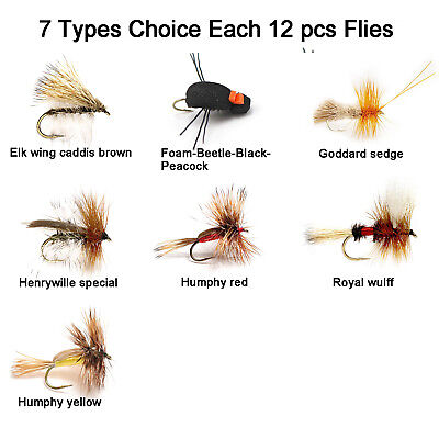 Aventik 12pc Fishing Flies Caddis Flies trout super sturdy Flies realistic flies