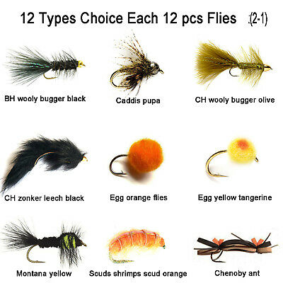 Aventik 12pc Fishing flies scuds shrimp, egg,woodly super sturdy realistic flies