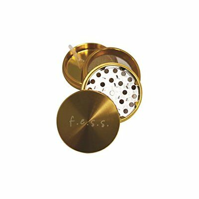 """Large Spice Tobacco Herb Weed Grinder-4 Pcs with Pollen Catcher-2.5"""" Gift gold"""