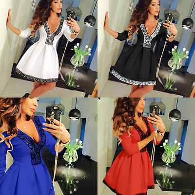 Womens Lace V Neck Ladies Evening Prom Cocktail Party Casual Mini Skater Dress
