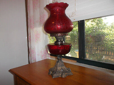 Stunning Ruby Glass Oil Lamp