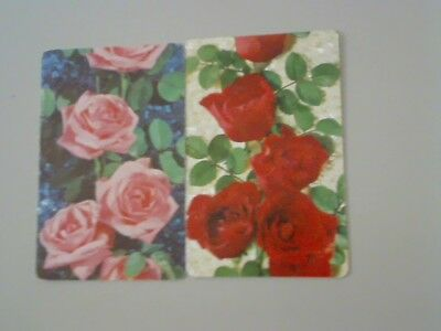 2 Single Swap/Playing Cards - Pair Flowers Roses Red & Pink (No Borders)
