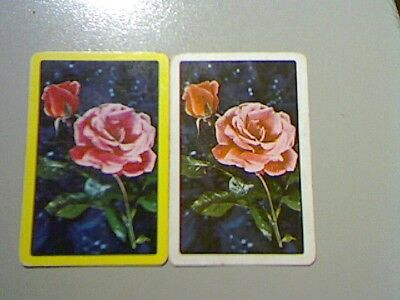 2 Single Swap/Playing Cards - Pair Flowers Roses#