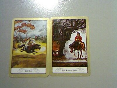"""2 Single Swap/Playing Cards - Pair Horse & Rider """"Full Cry, The Return Home""""#"""