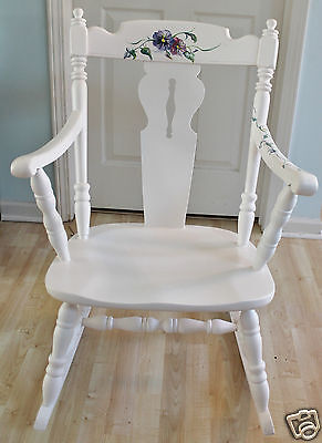 White Hand Painted Rocking Chair - Pansy Design Created by Local Artist - Nice!