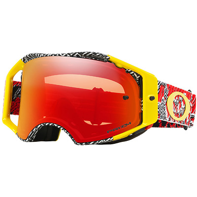 NEW OAKLEY AIRBRAKE DAZZLE DYNO RED YELLOW with PRIZM TORCH Lens MX Goggles Moto