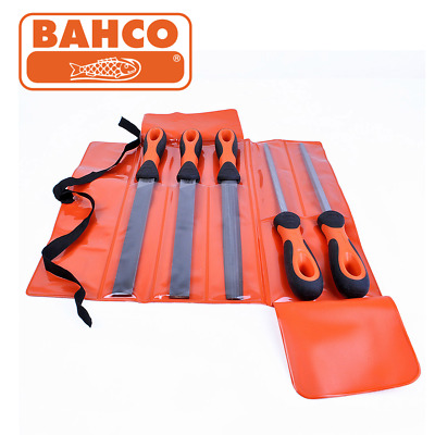 "Bahco 8"" 5 Piece Ergo Engineers Handled File Set with Roll Up Wallet 14780812"