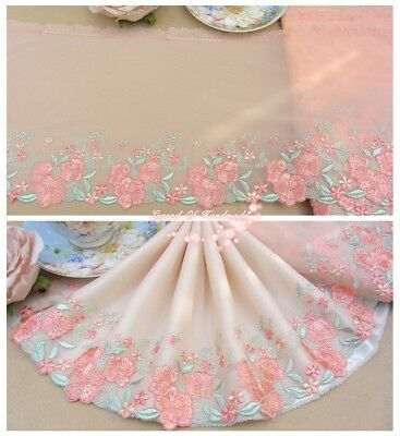 """9""""*1Y Embroidered Floral Tulle Lace Trim~Peach Pink+Green~Song of Beauty~"""