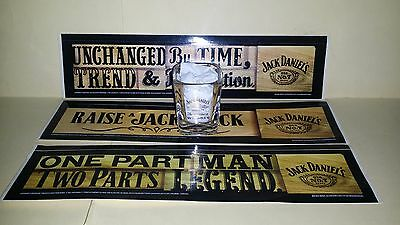 Collectable Jack Daniel's square shot glass and 3 Promo Stickers