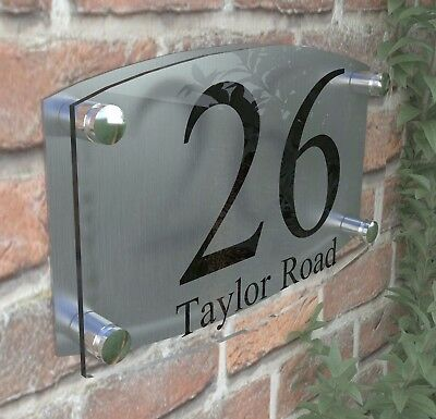Large House Number Plaque Glass Effect Acrylic Sign Door Plate Name Wall EM2B