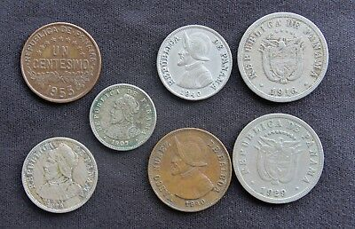Panama Lot of Seven Different Coins