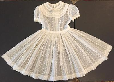 Vintage 1950s Girl's White Embroidered Full Skirt Puff Sleeve Dress 30 Chest