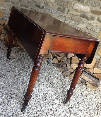 ~Antique Solid Dark Mahogany Victorian Pembroke Table with Hidden End Drawer~
