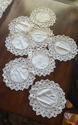 "EIGHT VINTAGE ◇ HANDMADE ROUND  COTTON CROCHET DOLLIES ◇ 8.5"" Diameter"