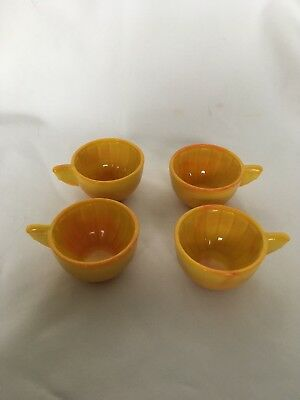 Akro Agate Pumpkin Cup Stacked Disc & Interior Panel Childs Vintage Tea Set Dish