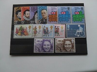 GB QE11 1970s FIVE MINT (MNH)  SETS  COMMEMORATIVE STAMPS  AS PICTURE AND LISTED
