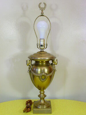 "Vintage Brass Hollywood Regency Egyptian Revival Urn Table Lamp, 25"" Tall"