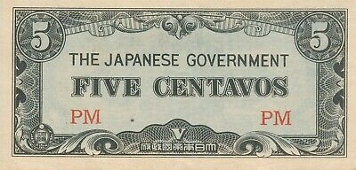 Currency Japan Philippines 1942 WWII  Occupation Five Centavo Note Uncirculated