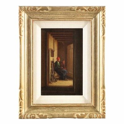 Small 19th Century Dutch Antique Oil Painting of Figures in Hall, circa 1864