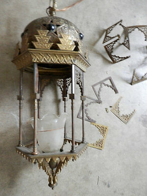 Antique Large Middle Eastern Egyptian Palace ceiling Brass lamp Hanging Lighting