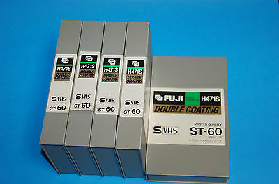 5  Fuji H471S Super VHS S-VHS 60 Master Quality Videocassette Tapes  (Qty 5)